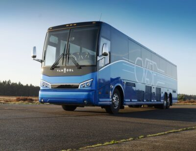 Van Hool Ships the First CX45E Electric Coach to the US